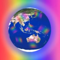 Earth in a rainbow